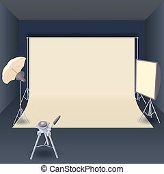 Photo studio with lighting equipment cartoon style - Photo...