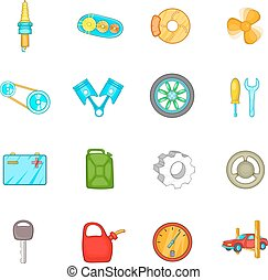 Auto spare parts icons set, cartoon style - Auto spare parts...