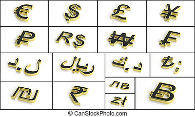 3d rendering various currency symbols collage - 3d rendering...