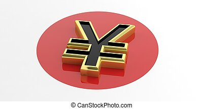 3D, fazendo, iene, ligado, Japão, bandeira