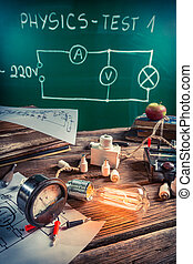 Study of electric current in the physics laboratory