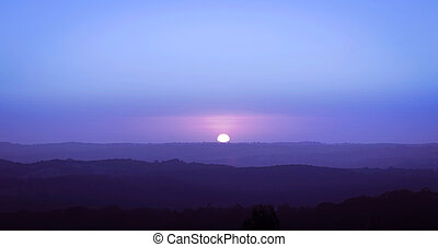 Blue Rise - Sun rising in the Adelaide Hills