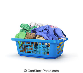 Colorful clothes in a laundry basket isolated on white...