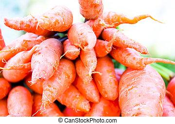 Organic vegetables.Fresh carrots in the market.Freshly harvested vegetables.