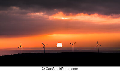 Last Chance - Wind Farm in front of setting sun