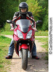 motociclista, posición, país, camino
