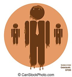 Business icon of man in suit made from chocolate - Vectoru...