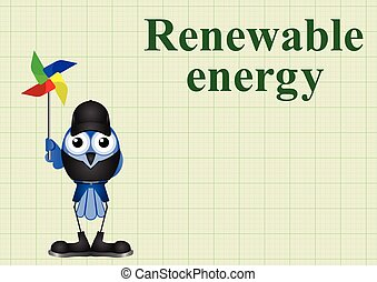 Renewable energy - Comical renewable energy with windmill on...