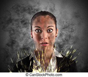 Electric shock - Woman with shocked expression smoke and...