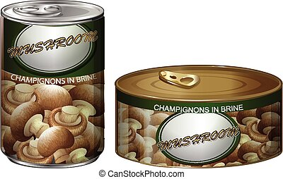 Canned champignons mushrooms on white illustration