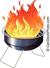 Charcoal stove with flame illustration