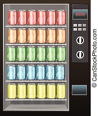 Soft drinks in the vendor machine illustration