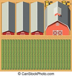 Aerial view of farmland and crops illustration