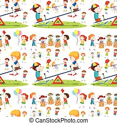 Seamless background with children playing