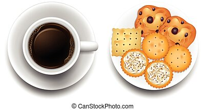 Hot coffee and cookies on plate illustration