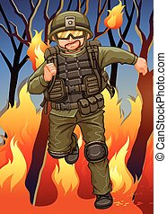 Soldier running away from wildfire illustration