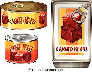 Three design of canned meats