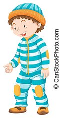 Toddler boy in blue striped jumpsuit  illustration