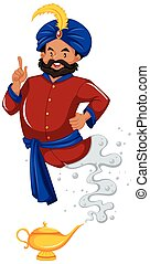 Genie in red shirt came out of lamp illustration