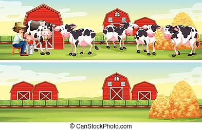 Farmer and cows in the farm illustration