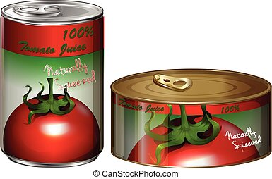 Two cans of tomato juice illustration