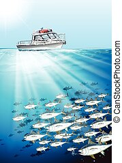 Fishing boat and fish under the sea illustration