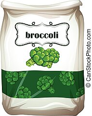 Bag of broccoli with label