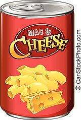 Canned mac and cheese on white illustration