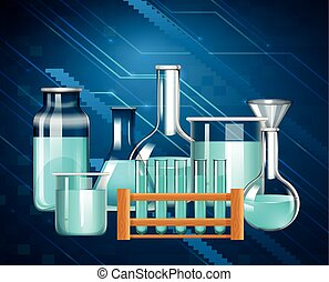 Glass beakers and testtubes with blue liquid illustration