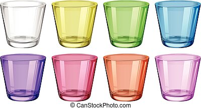 Set of glasses in different colors