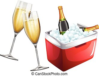 Champagne glasses and icebox illustration