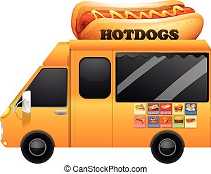 Yellow food truck with giant hotdogs illustration