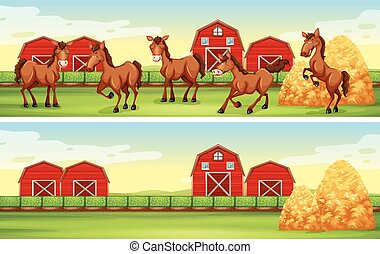 Farm scenes with horses and barns illustration