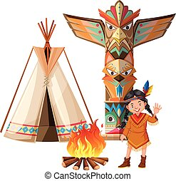 Indian girl and tepee by the campfire illustration