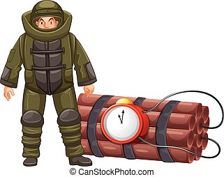Bomb squad and time bomb illustration