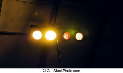 Flashing lights in a dark room club disco or party