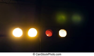 Flashing lights in a dark room club disco or party -...