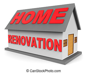 Home Renovation Shows Real Estate And House 3d Rendering -...