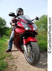 motociclista, posición, país, camino, Primer...