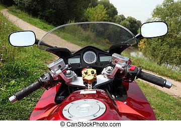 motocicleta, país, camino