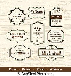 vector vintage frame set on wood texture background design elements