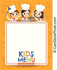 kids menu young chef children with blank menu board cartoon