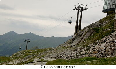 Funicular in mountain of Alps, Austria, Europe