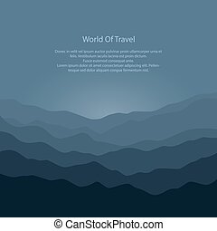 Silhouette of the Mountains Before Sunrise and Text, View of...