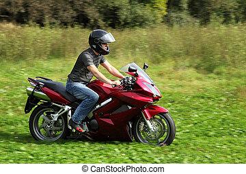 motociclista, equitación, pradera