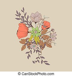Vector flower bouquet, botanical and floral decoration hand...