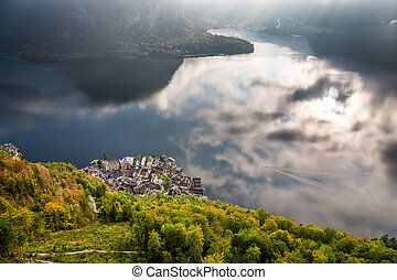Hallstatt from the top of the mountain