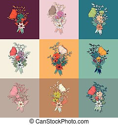 Vector flower bouquet, collection, botanical and floral...