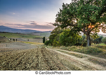 Sunset over the land of Tuscany