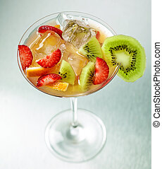 fresh iced cocktail with fruits